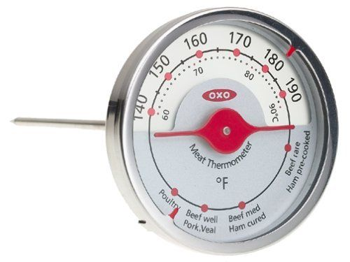 OXO Good Grips Leave-In Meat Thermometer by OXO. $16.99. Leave-in meat thermometer for poultry, pork, beef and more. Clear markings with Fahrenheit and Celsius temperatures. Dual indicators point to temperature and cooking guide simultaneously. Frosted glass face lets oven light shine through. 5-1/2-inch stainless steel probe; 3-inch diameter. Amazon.com                Heavy-duty and eminently readable, this Oxo leave-in thermometer allows for quick and easy in-oven m...