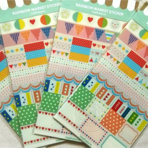 6Pcs-Creative-PVC-Transparent-Rainbow-Decorative-Stickers-Album-Diary-Stickers