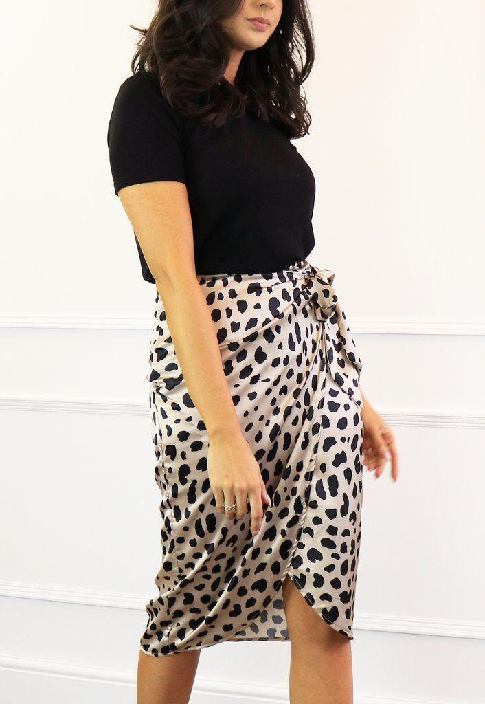 a741f75fa0c7 Satin Dalmatian Print Wrap Over Curve Hem Midi Skirt in Champagne Gold