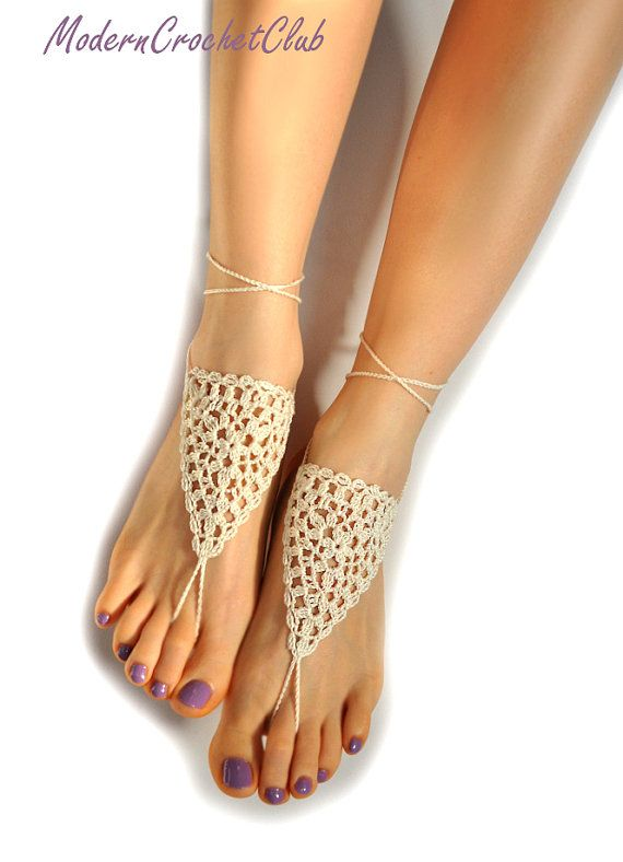 Wedding Barefoot Sandals, IVORY bridal foot jewelry, nude shoes, beach wedding, anklet, joga class, bellydance, barefoot sandles,lace shoes