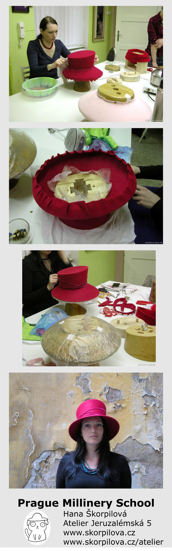 Felt hat with brim workshop Prague Millinery School Hana Škorpilová