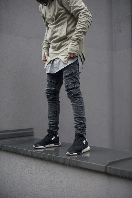 pl — admirableco: Gray jeans and olive hoodie by.