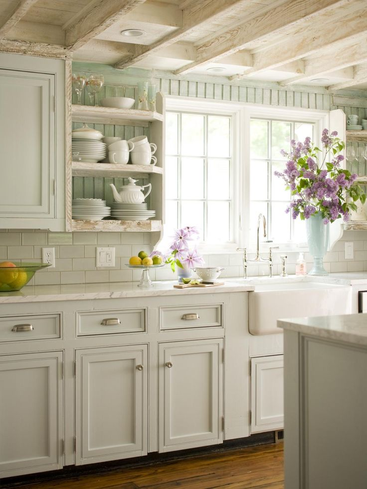 Cottage kitchen, exposed white-washed beams, open shelves, marble, blue beadboard...