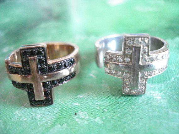 Cross chevalier ring Midi ring Zircon cross ring Spinel by Poppyg
