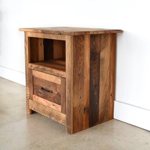 Rustic Bedside Table Reclaimed Wood Nightstand Handmade Side