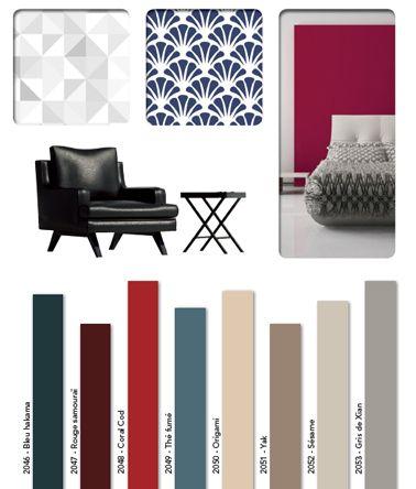 Une harmonie de couleurs gris et rouge pour créer une ambiance japonaise et design dans le salon ou la chambre