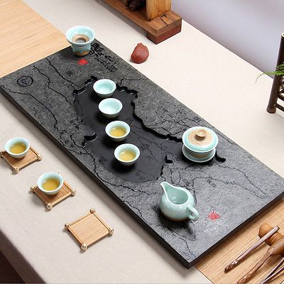 Stone tea tray Hand-carved master Black stone tea plate Drainage tea table China