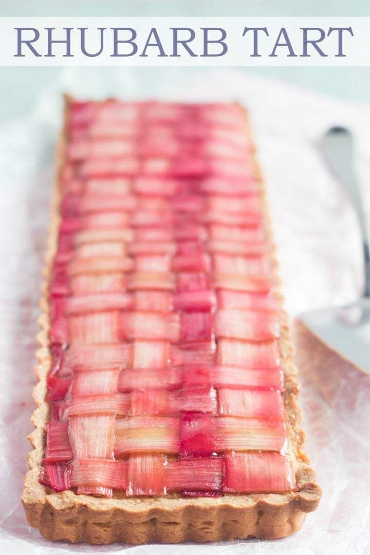 Gorgeous Rhubarb Tart with almond frangipane filling and buttery shortbread crust.