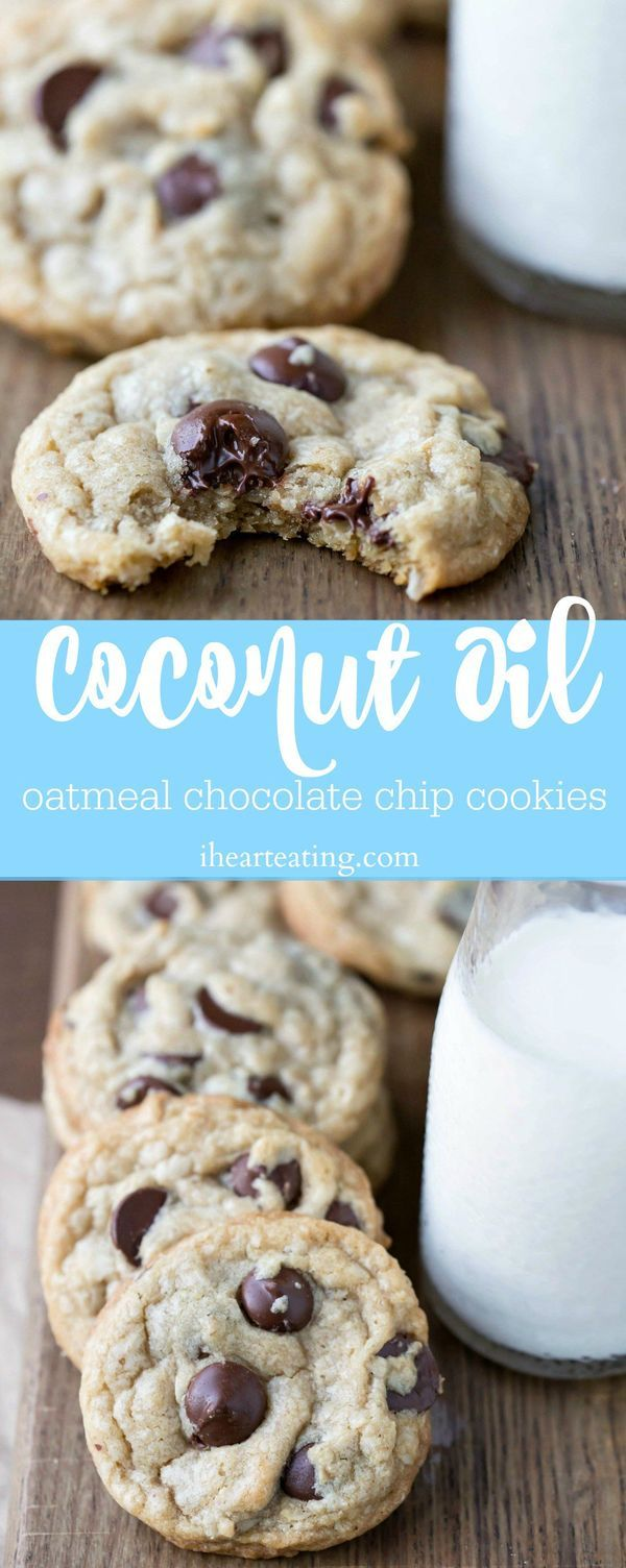 Coconut Oil Oatmeal Chocolate Chip Cookie - soft and chewy oatmeal cookie recipe!