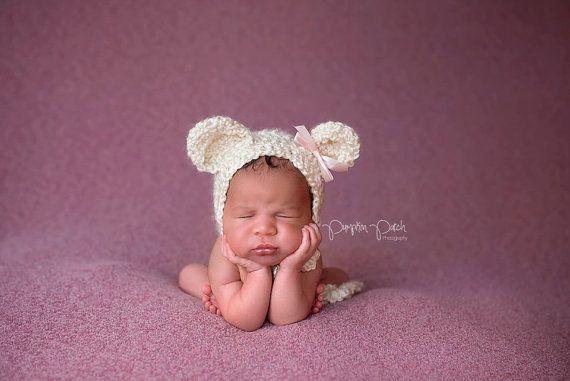 Newborn Cream Fuzzy Bear Bonnet by JazzCraftBoutique on Etsy