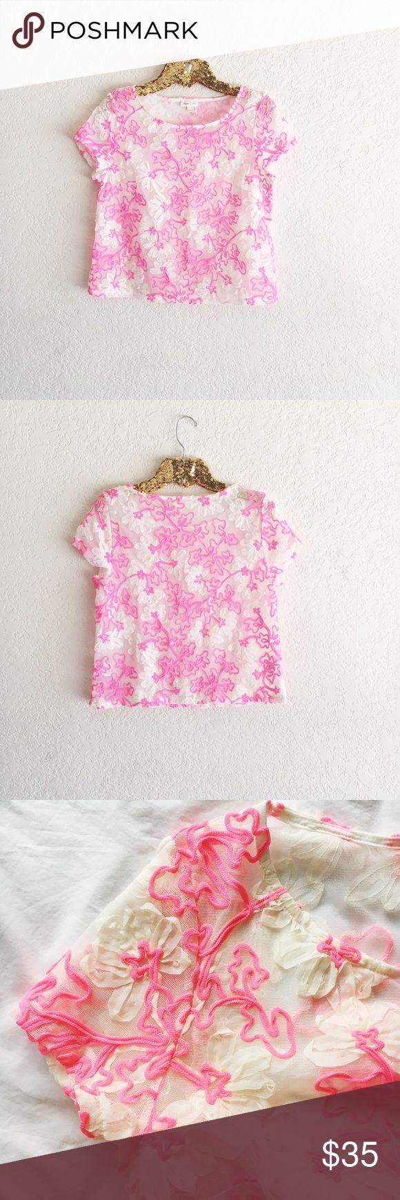 """Anthropologie Meadow Rue Cherry Blossom Top Embroidered mesh neon pink short sleeve top. In excellent pre-owned condition. Size small.  Approximate Measurements (laying flat):  • length: 21""""  • underarm to underarm: 18.5"""" Anthropologie Tops Tees - Short Sleeve"""