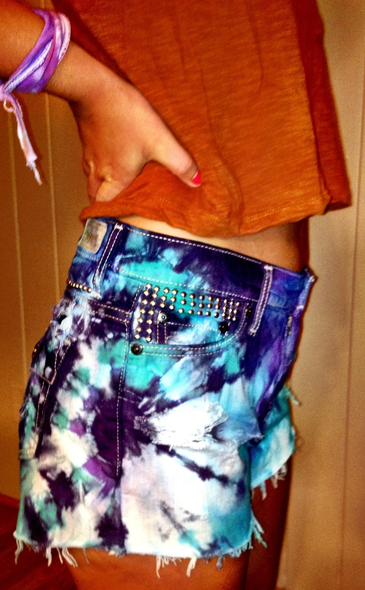 Y'all!!!!! M best friend @Debbie Hitchner is fab. check her out...Dyed and Studded Jean Shorts. $33.00, via Etsy.