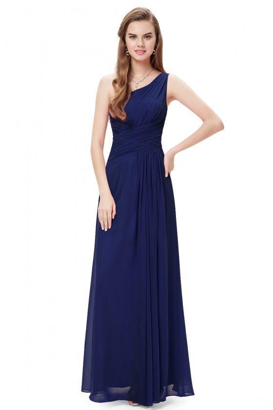 2b9eb3b6d80d8 Elegant Navy Blue One Shoulder Slit Ruched Long Formal Dress - $52  #EP09905NB - SheProm.com