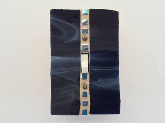 Interrupteur de lumière bleu foncé housse taies plaque