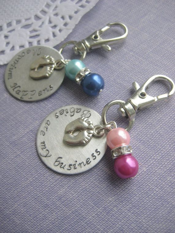 Midwife, Doula, Obstetrician gift. Zipper pull, purse charm, babies are my business, footprint charm, handstamped.