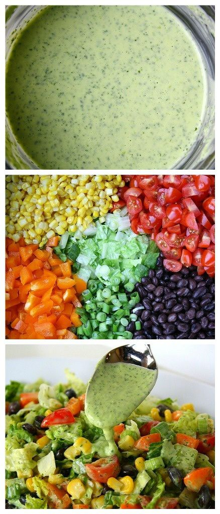 Southwestern Salad with Cilantro Lime Dressing -