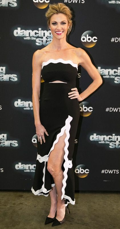 Erin Andrews in a black-and-white strapless Jonathan Simkhai dress on Dancing With the Stars