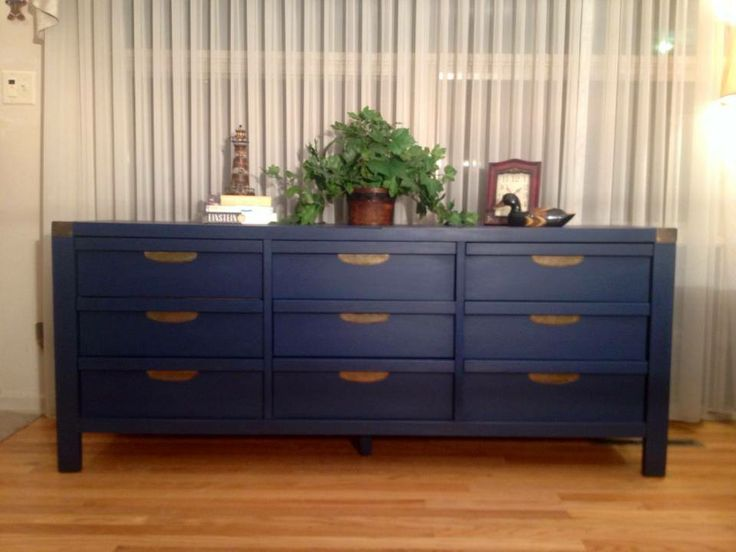 Vintage dresser painted navy blue by twice loved furniture for Navy blue painted furniture