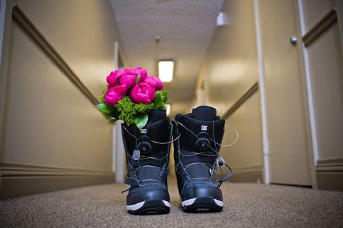 Snowboard schoenen van de bruid