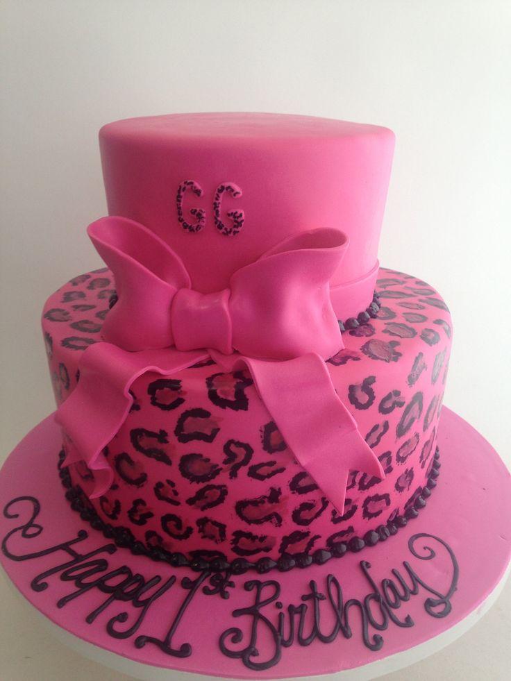 Pink Leopard Birthday Cake