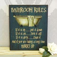 Blue Wooden Bathroom Rules Plaque Sign Shabby Accessory Chic Vintage Gift