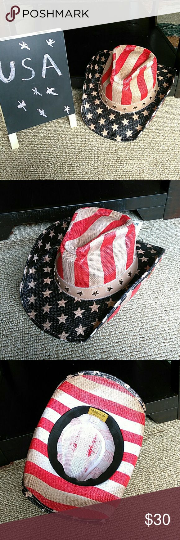 Anerican flag old glory cowboy hat 4th of july New with tags Perfect for 4th of July American patriotism cowgirl hat goldcoast sunwear Accessories Hats