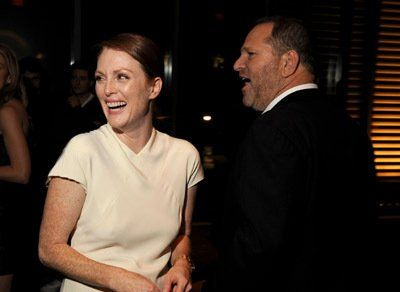 Julianne Moore and Harvey Weinstein at event of A Single Man (2009)  | Essential Gay Themed Films To Watch, A Single Man http://gay-themed-films.com/films-to-watch-a-single-man/