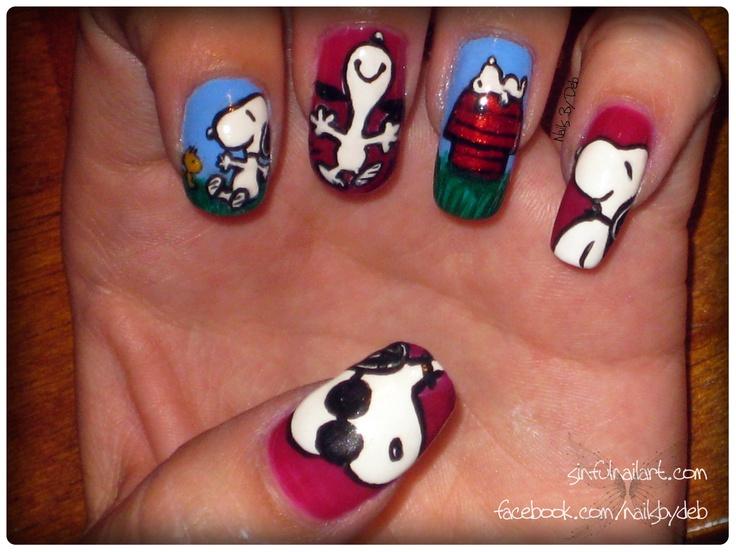 Joe Cool, Snoopy wants hugs from Woodstock, Snoopy dancing, Snoopy daydreaming & Snoopy just being Snoopy :) #nailart