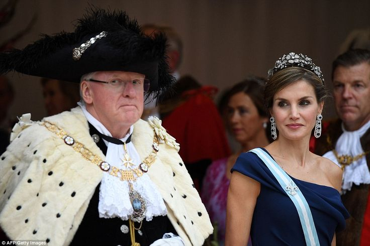 The Spanish Queen looked radiant as she stood outside the event, which sees hundreds of guests attend in her honour