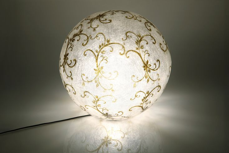"""Vintage Swirl"" ball - Κρεμαστό/επιδαπέδιο φωτιστικό Handmade fiberglass ball lamp  Fiberglass material is robust and lightweight  It can be hang from the ceiling as the central light of the space, or be put on the floor/any surface as a floor/desk lamp  Diameter: 40cm  The ball has Natural White as its background color. The design is of Olive Green color.  It comes complete with an E27 bulb holder and you can use as much wattage as you need."