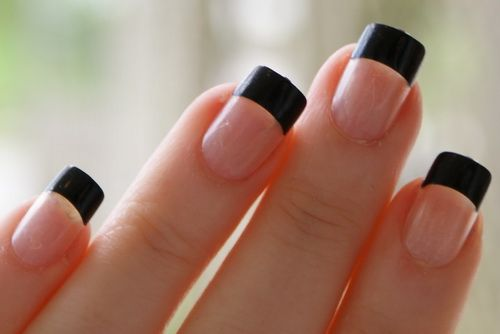 simple black french nails French Tip Nails Styles 2013