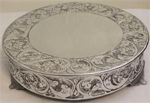 Grand Silver Round Wedding Cake Stand Plateau 16 Inch