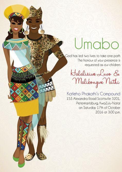 mbali zulu south african traditional wedding invitation