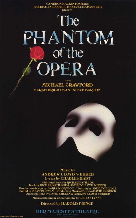 Vintage Broadway Theatre Posters | The Phantom of the Opera Broadway Poster