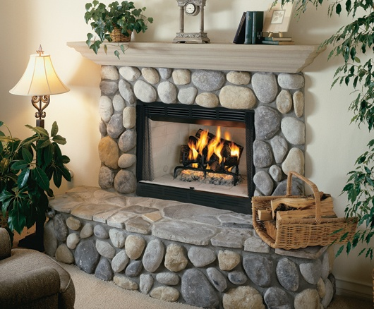 Large Smooth Stone Surround With Raised Hearth And Stone
