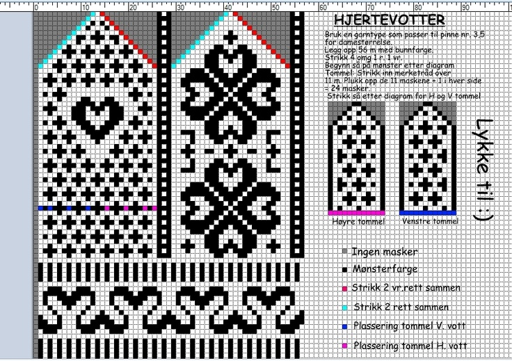 Hjertevotter; Norwegian mitten pattern. Knitting Pinterest Charts, Knit...