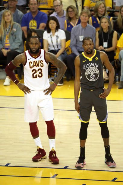 a249e4b0cce5 LeBron James of the Cleveland Cavaliers and Kevin Durant of the Golden  State Warriors look on in Game Two of the 2018 NBA Finals on June 3 2018 at.