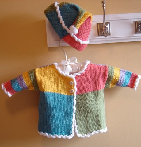 Color block baby ensemble. Cute! | Brother knitting ...