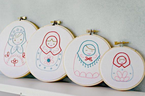 Russian Nesting Doll Matryoshka Dolls Hoop Art Set Hand Embroidery Red Pink Teal Blue Girls Room Decor.