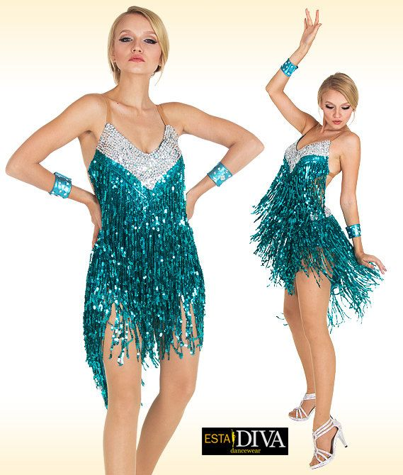 cyan blue white sequin fringe latin dress