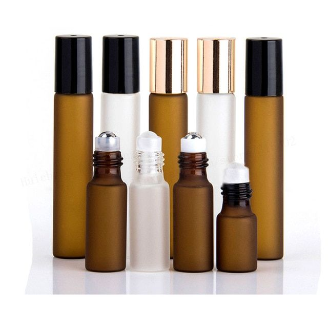 5 X 3ml 5ml 10ml Frost Clear Amber Roll On Roller Bottle For Essential Oils Refillable Perfum Deodorant Containers Refillable Perfume Bottle Refillable Bottles
