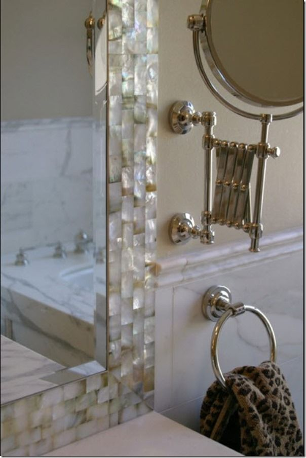 cheap diy jazz up your builder mirror create a frame with tile even - Bathroom Mirrors Design