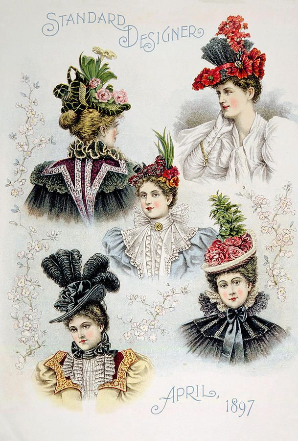 """Beautiful and varied fashionable hat designs for women, during America's Gilded Age era. """"Standard Designer"""", April, c.1897. Print by: Everett ~ {cwl} ~ (Image: fineartamerica)"""