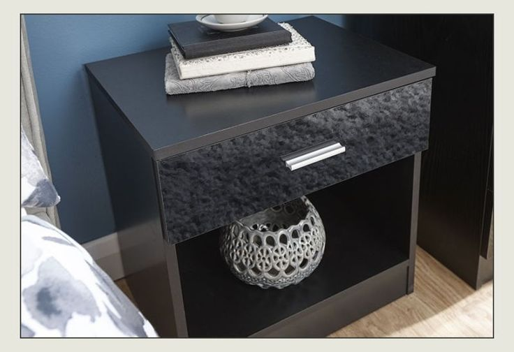 Black Bedside Cabinet Lamp Table Gloss Chest Unit With Drawer Bedroom Furniture…