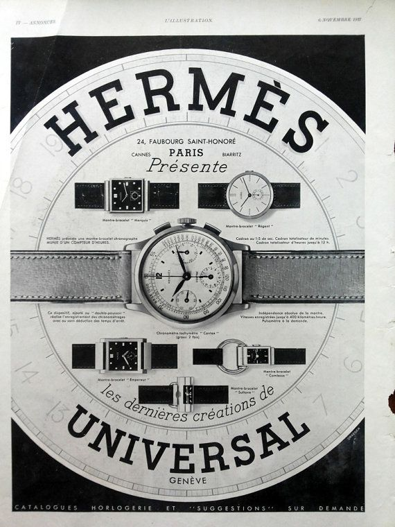 Hermes watches vintage advertising luxury watches poster by OldMag