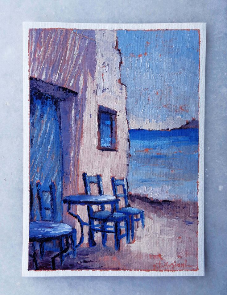 Santorini, a point of view - Oil on canvas, 24x17cm