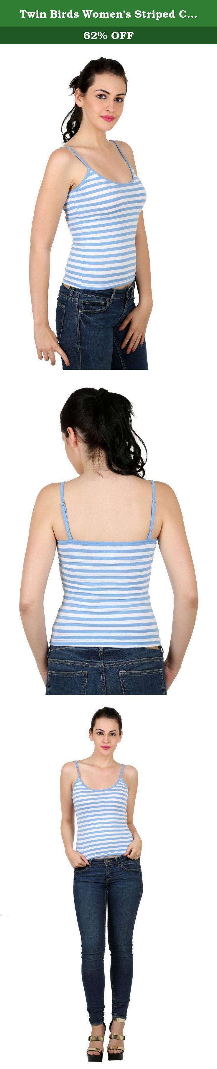 twin birds womens striped cotton jersey scoop neck adjustable spaghetti strap cami bluewhite