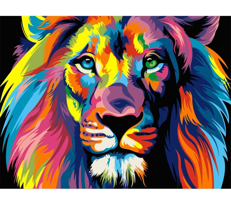 """Раскраска по номерам Артвентура """"Радужный лев Ваю Ромдони ..."""