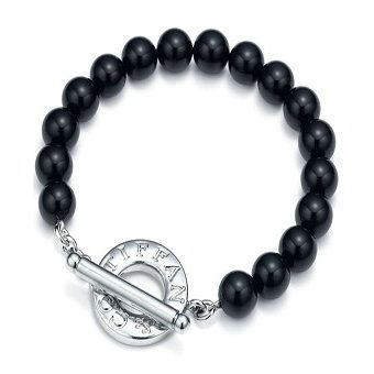 tiffany  co. black onyx bracelet