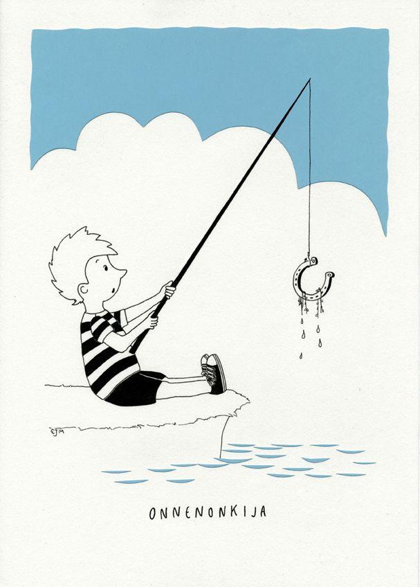 Onnenonkija. Mantelinan A4-printti. Alkuperäinen kuva: Elina Jasu / Fishing for luck? Art print made by Elina Jasu for Mantelina